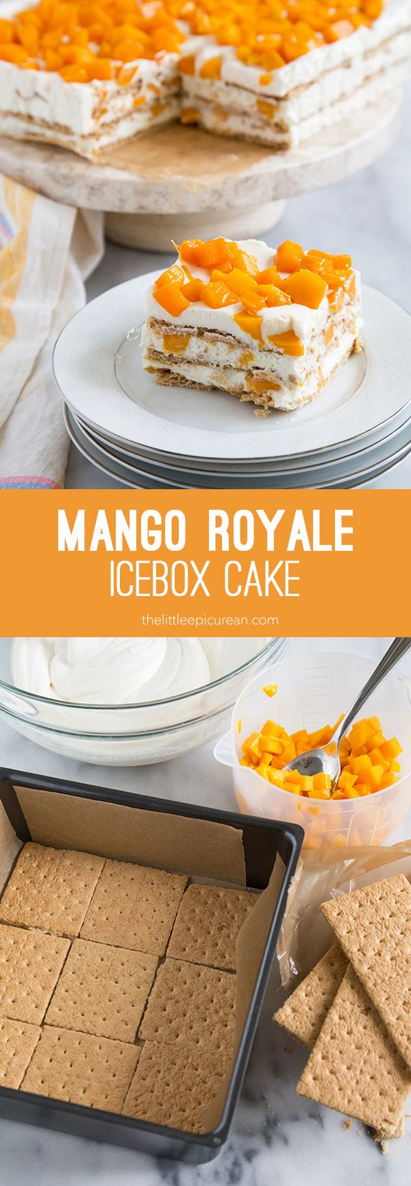 Mango Royale Icebox Cake is variation on a popular Filipino dessert called Crema de Fruta. Made with graham crackers, whipped cream, and fresh mangoes.