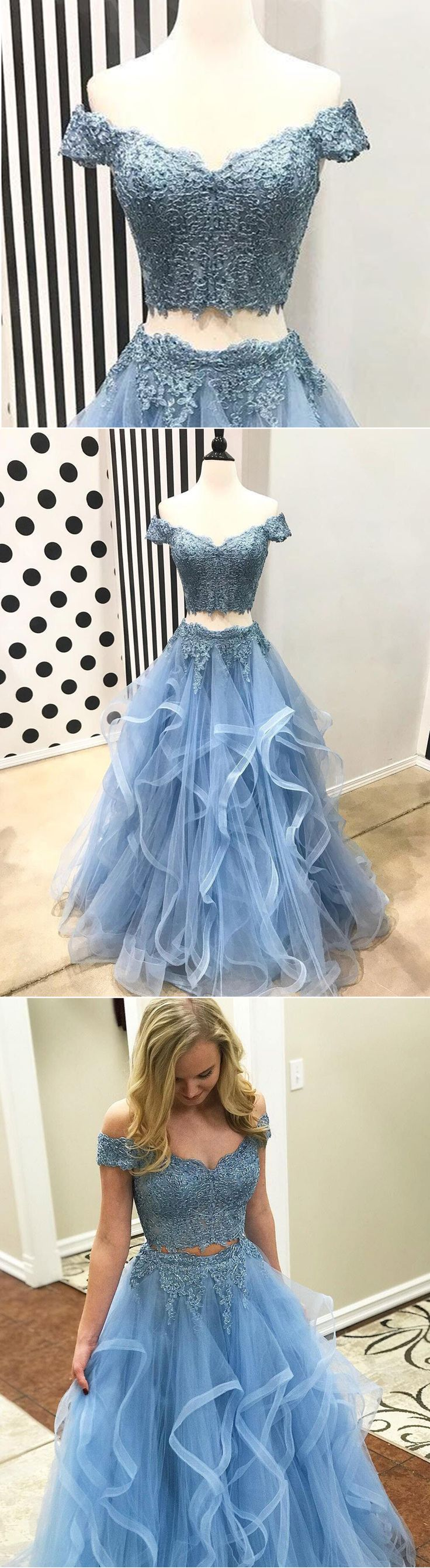 Stylish blue lace off shoulder long rufles tulle sweet 16 prom dress with sleeves - Thumbnail 1