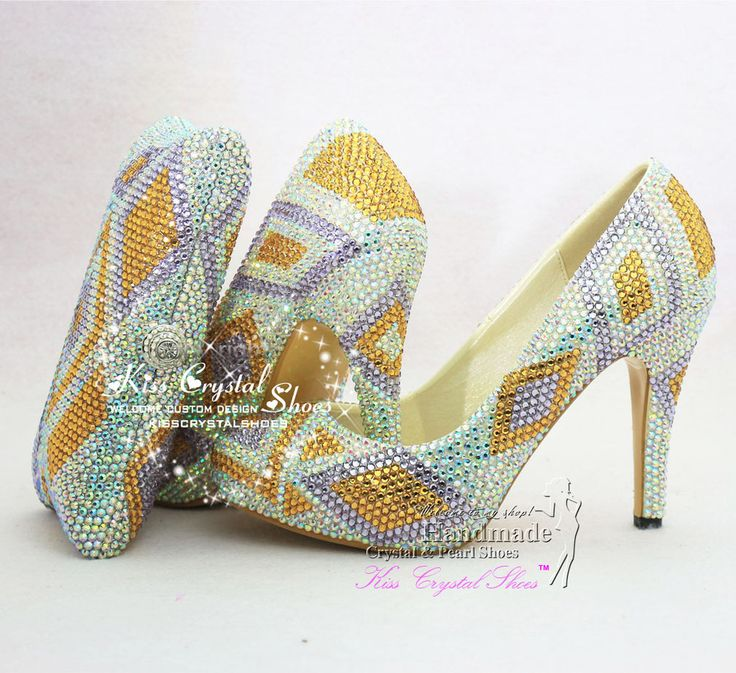 Women Shoes Rainbow Wedding Colored Bridal Dress Gold Purple Mixed Crystals With