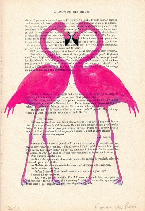 Drawing Illustration Giclee Prints Posters Mixed Media Art Acrylic Painting Holiday Decor Gifts: Flamingo heart. $10