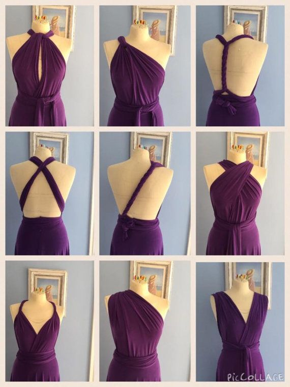 Bridesmaid dress Infinity dress multyway dress stretch lycra deep purple maxi…