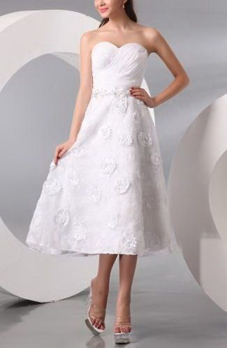 Elegant A-Line Sweetheart Wedding Dresses - Order Link: http://www.thebridalgowns.com/elegant-a-line-sweetheart-wedding-dresses-tbg1982 - SILHOUETTE: A-Line; SLEEVE: Sleeveless; LENGTH: Tea Length; FABRIC: Organza; EMBELLISHMENTS: Ruching , Flower , Beaded , Appliques , Lace - Price: 97.99USD