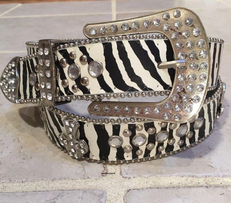 Rhinestone Cross Studded Belt Leather Zebra Striped Black & White Size Lg NEW #Unbranded #Rhinestone