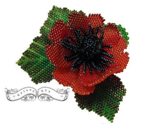 Made To Oder  Poppy Brooch by GelseyNyx on Etsy