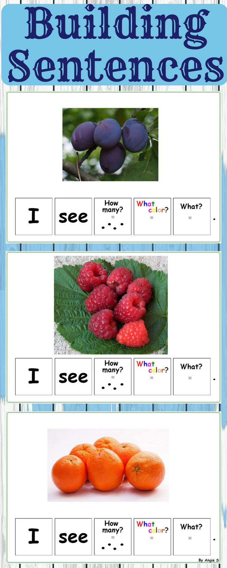 Fruits and Berries Building Sentences Activity is great for kindergarten, preeschool and special needs students. Forming sentences is very important for young learners or those with autism. This activity uses real-life pictures for easy recognition of common objects and sight words as sentence starters. It is perfect for early readers. #tpt #teacherspayteachers #fruits #activities #students #slpeeps #sped #autismresources