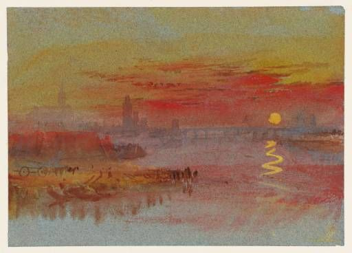 """""""The Scarlet Sunset"""" by Joseph Mallord William Turner, 1830-40  Watercolour and gouache on paper"""