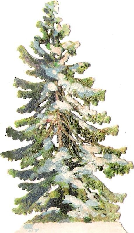 Oblaten Glanzbild scrap die cut chromo Wald Baum 10,5cm tree Winter Schnee snow: