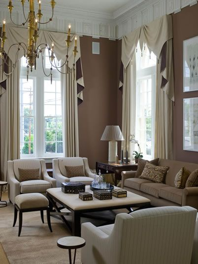 Window treatments!: Wall Colors, Beautiful Living Rooms, Decor Ideas, Paintings Colors, Phoebe Howard, Tall Window, High Ceilings, Colors Schemes, Window Treatments