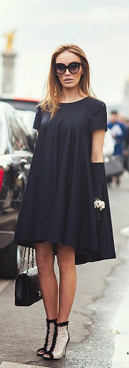 Paris Fashion week - Chanel black dress and booties: