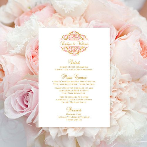 This printable menu is perfect for your wedding reception. Place and table cards, programs, seating charts and thank you cards also available in this design. If you would like another color, please contact me and I will provide you with custom ordering instructions within 24 hours.    Your file will be sent to you immediately upon payment through Etsy. Print your own wedding stationery and save hundreds of dollars on your wedding budget. Create your own wedding menu in 3 easy steps ... 1)…