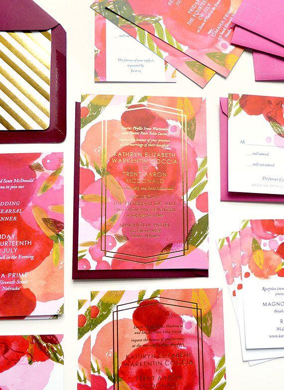 Feuille dor rose design moderne faire part de mariage