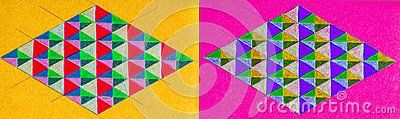 Pair of horizontal hand drawn illustrations side by side of two diamond shapes consisting of triangular designs in multiple colors, isolated on a yellow background and a pink background.
