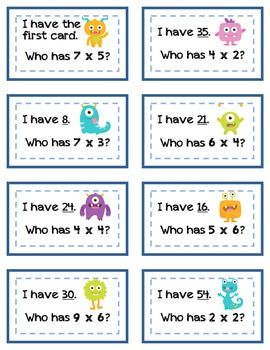 "***FLASH FREEBIE*** please leave feedback and consider following my store! Saturday morning freebie until 11am. ""I Have...Who Has"" Monster Multiplication (facts to 9x9)"