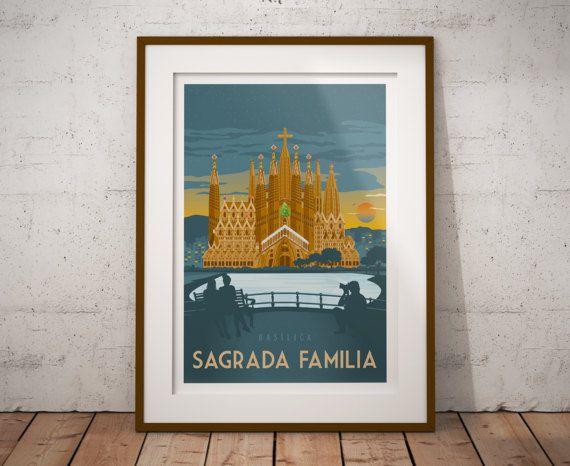 Retrouvez cet article dans ma boutique Etsy https://www.etsy.com/fr/listing/512181309/travel-poster-barcelona-sagrada-familia
