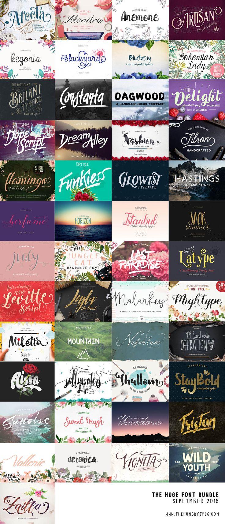 The Huge Font Bundle - September 2015 | The Hungry Jpeg