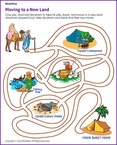 Abraham and Sarah Move to a New Land (Maze)- Kids Korner - BibleWise