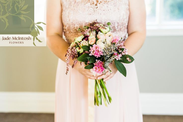 Pretty in pink! We love the aubergine pieris in Carrie's bouquet - it's different without being overwhelming, and works so perfectly with pink rhodedendrum, aubergine ranunculus, blushing brides and anemones. Love love love! www.jademcintoshflowers.com.au www.curlytreephotography.com.au