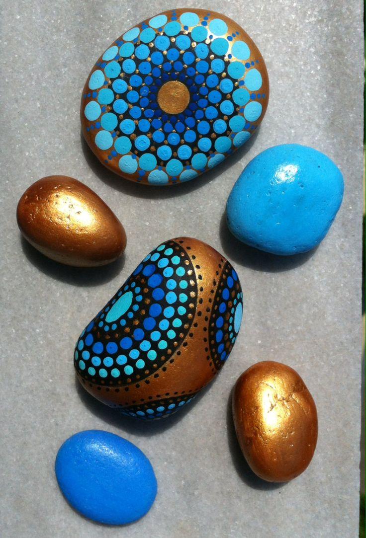 Set de 6 piedras de mandala pintadas por MediteraneoStones en Etsy