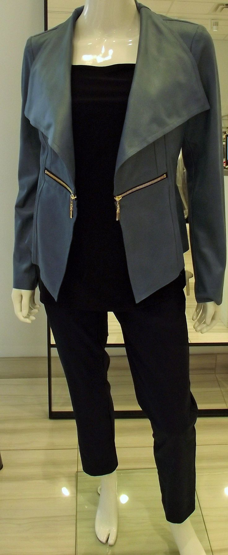 This blazer is a #musthave this summer and fall season. Comfortable soft pleather and flattering shape. Sold in black and blue #classicboutique #eastgwillimbury #pickeringtowncenter #classic #Summerlovin
