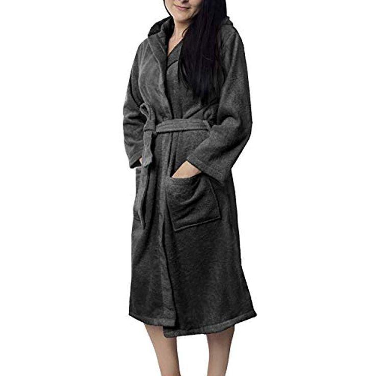 Oeko-TEX Zertifiziert Bademantel für Damen mit Kapuzen – Morgenmantel mit Baumw… – Shopping Angebote