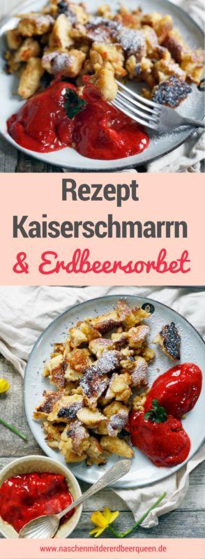 Einfaches Kaiserschmarrn Rezept mit Erdbeersorbet. Fluffig, mit Puderzucker fast wie Urlaub in den Bergen (Fast Breakfast)