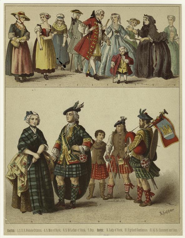 [English and Scottish dress, 18th century.] - ID: 811980 - NYPL Digital Gallery. Painted 19th century.