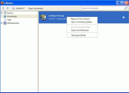 Pada suatu ketika anda bingung mencari file yang telah anda download. Di Browser firefox memungkinkan anda untuk mengubah pengaturan Default (My Document / Download) file letak download. Untuk  mengetahui letak download Click Tools / Dowload kemudian klik kanan pilih Open Containing Folder, dan akan terlihat seperti gambar dibawah...  http://satutekno.blogspot.com/2013/05/mengetahui-setting-letak-download-di.html