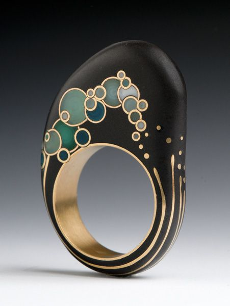 Contemporary Jewelry Design by Andrea Williams: Mizu Wave Ring: This ring was inspired by Hokusais Wave. I was honored to received a 2012 Niche Award in the Professional Fine Jewelry category for this design. Beach stone, reclaimed 18k gold, hand pulled Venetian Glass.