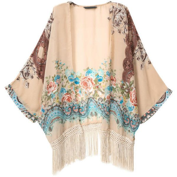 SheIn(sheinside) Apricot With Tassel Florals Loose Kimono ($23) ❤ liked on Polyvore featuring apricot