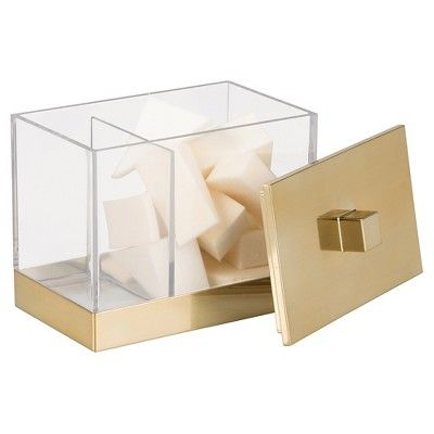 Rectangular Bathroom Vanity Canister with Dividers - Clear/Soft Brass - InterDesign, Gold