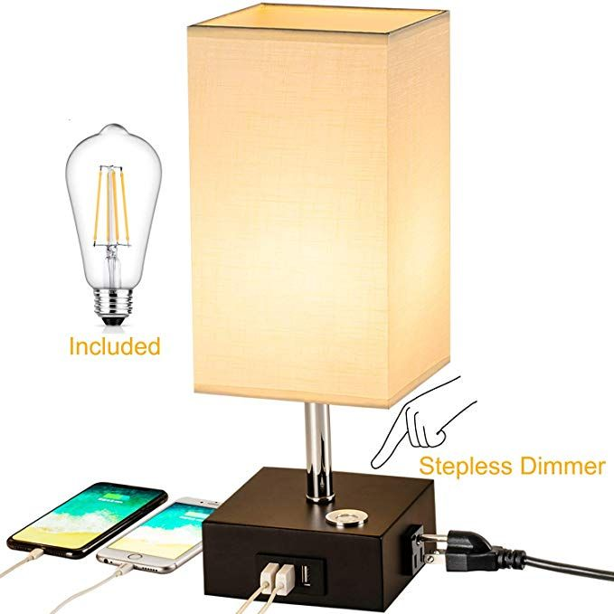 Touch Control Dimmable Table Lamp Briever Stepless Dimming Bedside Nightstand Lamp With 3 Usb Chargin In 2020 Dimmable Table Lamp Nightstand Lamp Bedside Night Stands