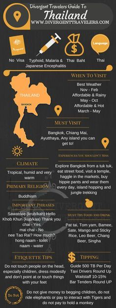 Divergent Travelers Travel Guide, With Tips And Hints To Thailand . This is your ultimate travel cheat sheet to Thailand. Click to see our full Thailand Travel Guide from the Divergent Travelers Adventure Travel Blog and also read about all of the different adventures you can have in Thailand at http://www.divergenttravelers.com/destinations/thailand-2/