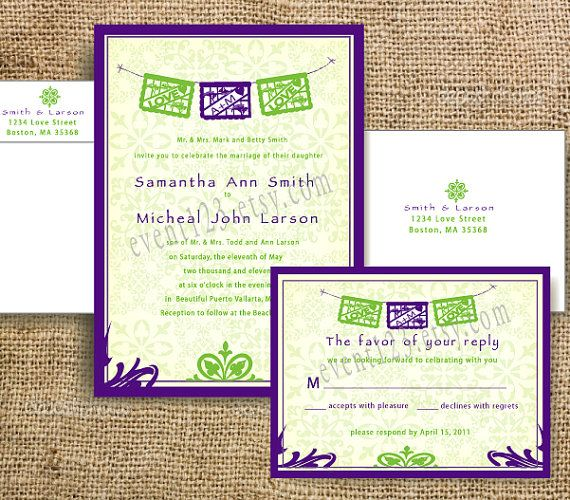 Custom Mexican Wedding Invitation Sample Packet Papel By Event123 1 85