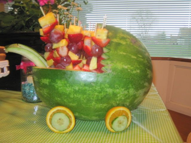 food for shower: Shower Ideas, Themed Baby Showers, Watermelon Baby Carriage, Annette S Baby, Baby Shower Foods, Gardens, Garden Themed, Annie Baby, Jennis Babyshower