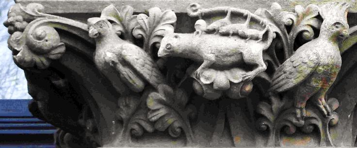 The enjoyable terracotta carvings on the facade of Hereford Museum in Broad Street are by Robert and William Clarke, working for the architect Frederick Kempson. They settled in Hereford c.1874.