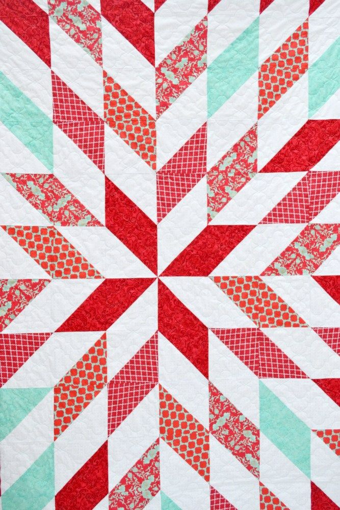 Love this in red & white for Christmas! It's Mahe of simple squares of one white & one cooked triangle. See her tute on how to make 4 of these squares in a snap - so easy! red and turquoise quilt // lemon squeezy home