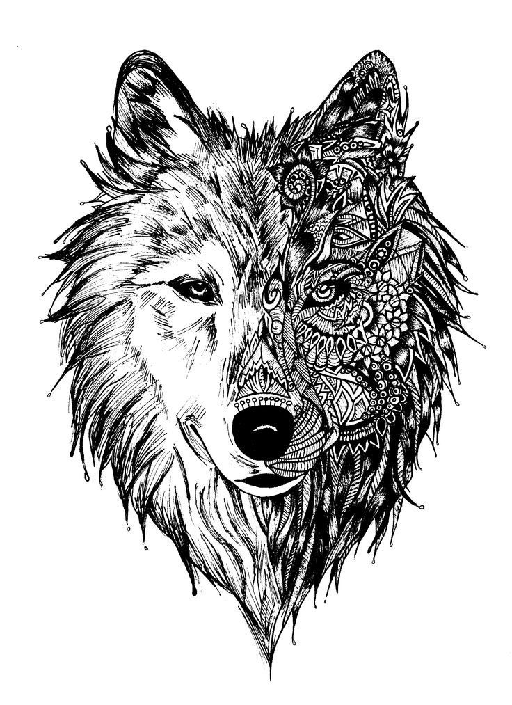 Wolf Coloring Pages for Adults Wolf tattoos, Animal