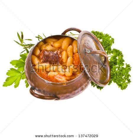 Traditional spanish beans stew native from Asturias Region in an old copper pot - Fabada Asturiana isolated on white background - stock photo