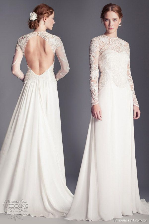 temperley london bridal 2013 flora long sleeve wedding dress cutout portrait open back