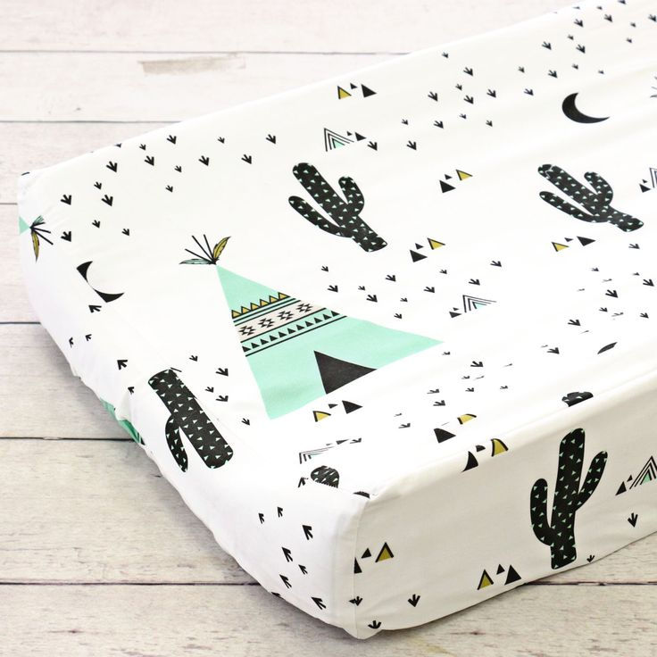 Cru's Southwestern TeePee & Cactus Changing Pad Cover | Southwestern, Tribal, Mint, TeePee, Cactus, Black, Triangle Changing Table COver by CadenLaneBabyBedding on Etsy https://www.etsy.com/ca/listing/467396832/crus-southwestern-teepee-cactus-changing