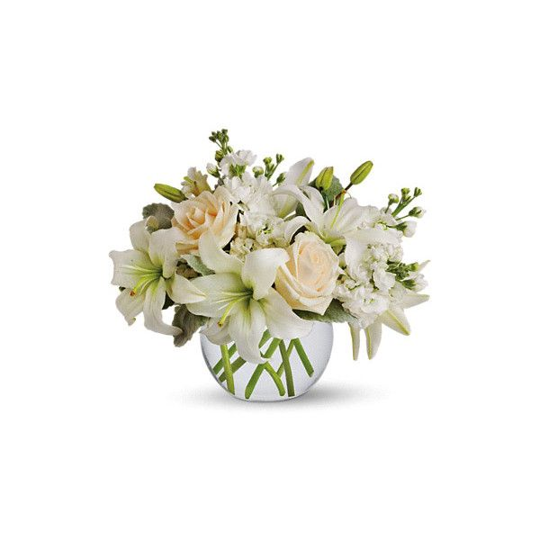 Isle of White Flowers Bouquet at 1-800-FLORALS Flower Delivery (€48) ❤ liked on Polyvore featuring home, home decor, floral decor, flowers, glass bowl, rose bouquet, white flower bouquet, white bowl and floral bowl