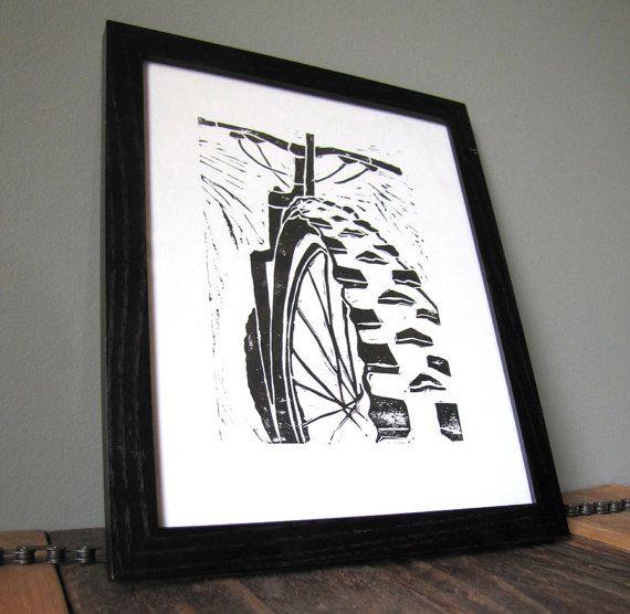 Mountain Bike Art Linocut Block Print 8x10 Black by CoffeeInBed, $18.00
