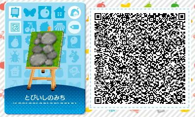 Animal Crossing QR Codes ❤ Narrow small rock path on grass Tile#1
