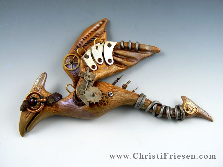 """Steampunk Pteradactly"" #christiFriesen #polymer with vintage and #foundObjects.  http://www.christifriesenart.com/"