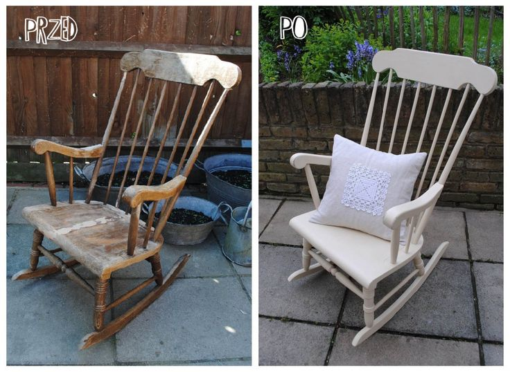windsor rocking chair before and afrter  Annie Sloan Old Ochre with clear wax
