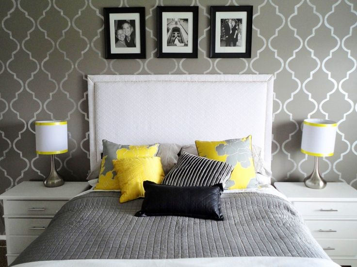 Bedroom idea - grey and yellow.