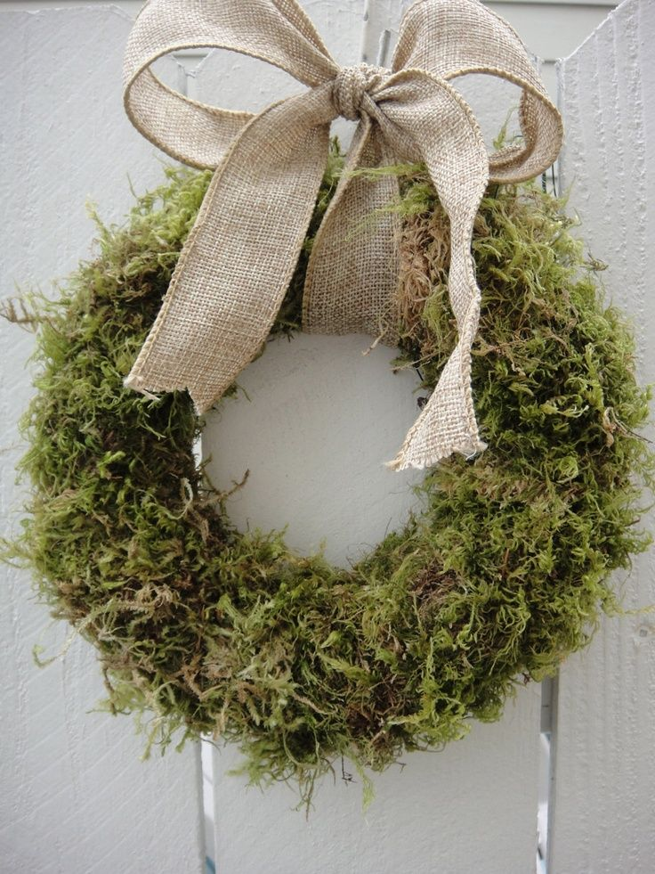 burlap wreath moss - Google Search
