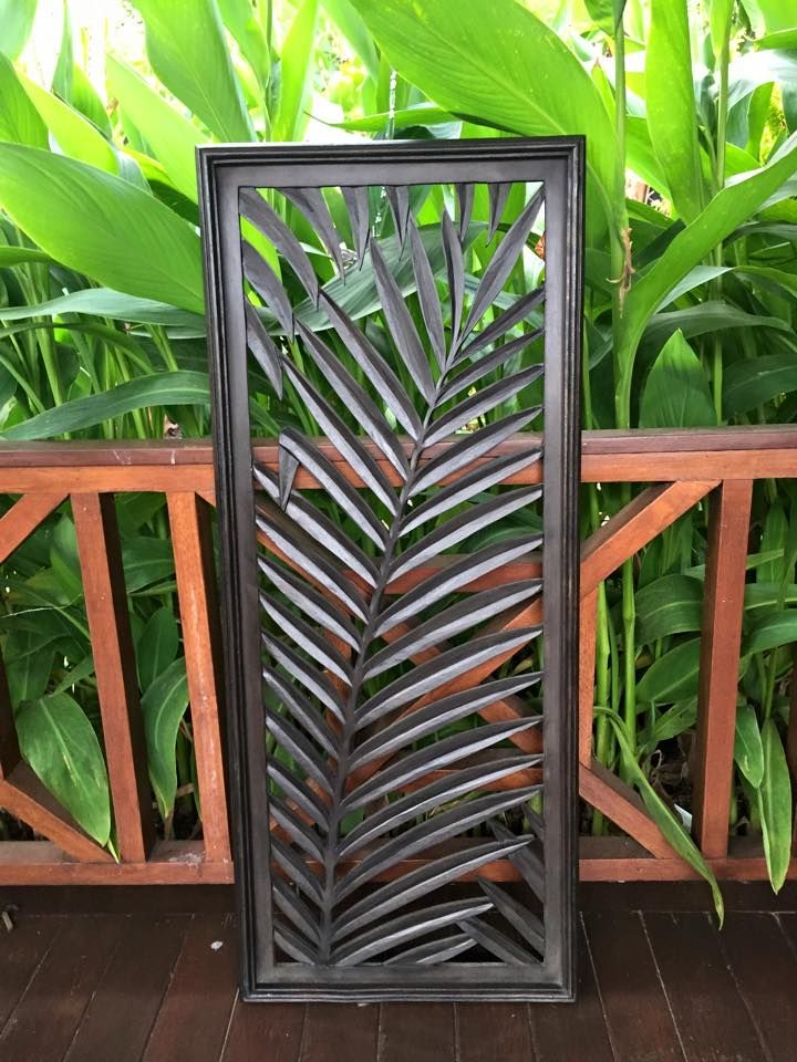Balinese Carved Wooden Palm Leaf Wall Panel Going To Buy