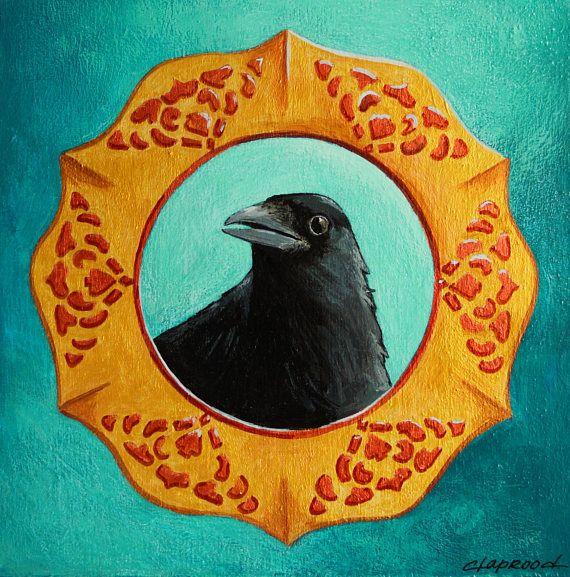 Peinture oiseau portrait corbeau image oiseau noir et fond