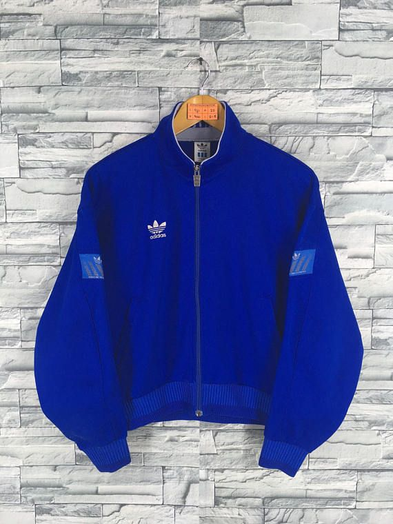 5e2684116ef ADIDAS Jacket Windbreaker Medium Vintage 90's Adidas Trefoil Blue Track Top  Sportswear Training Jacket Adidas Sweaters Size M